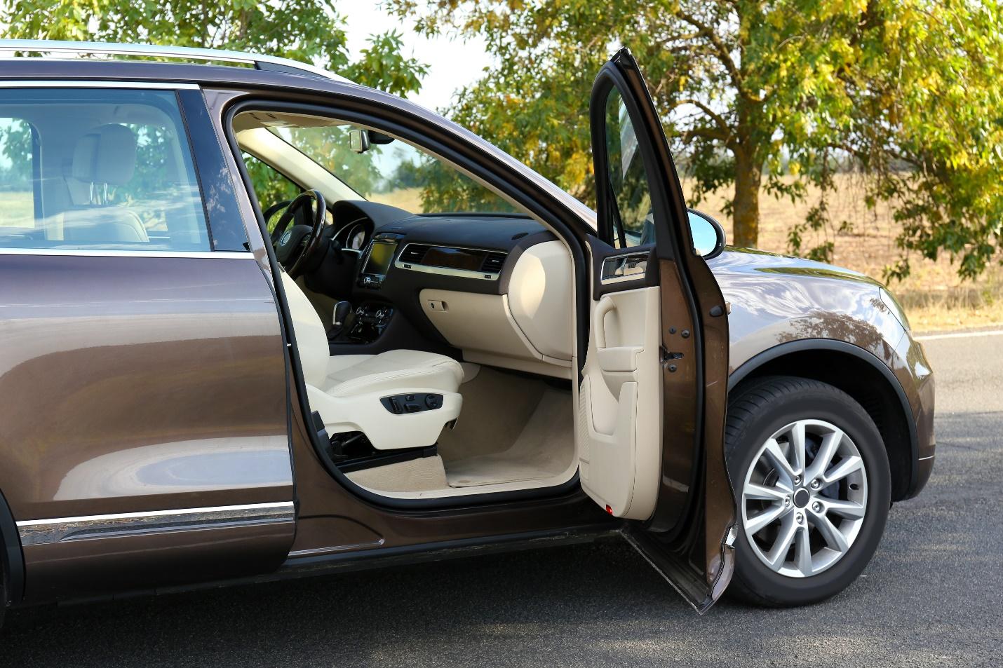 Open car door interior